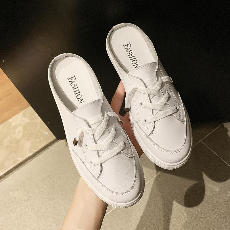 Giày bệt màu trắng đế bằng phong cách Hàn Quốc hợp thời trang cho nữ