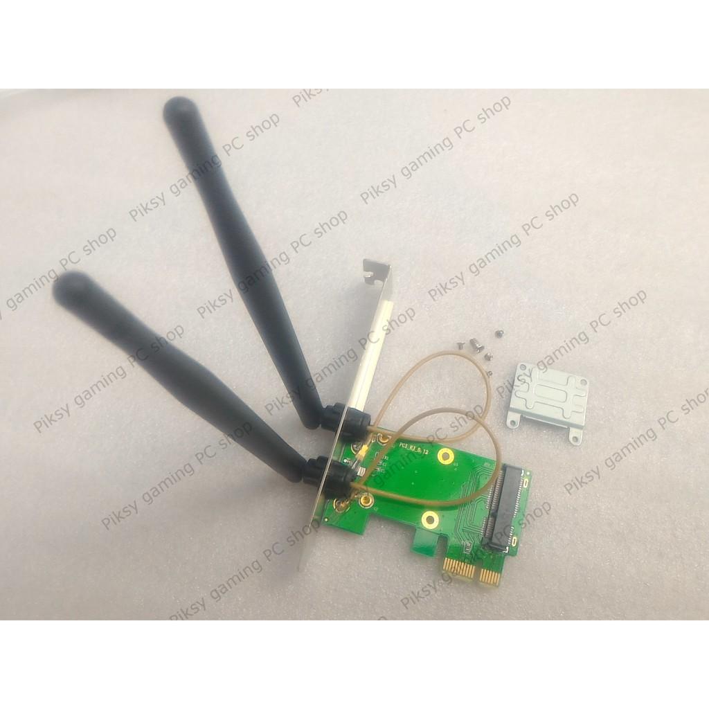 Adapter chuyển cổng mini-PCIe sang cổng PCIe x1 kèm antenna 5dBi dành cho card Wi-Fi