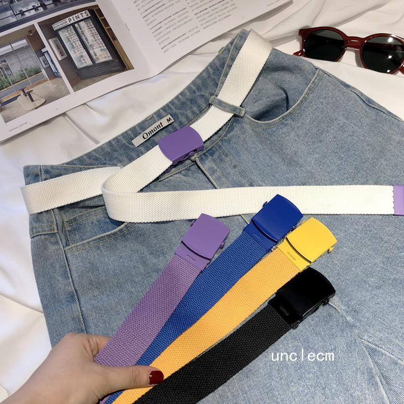 Color canvas belt men and women students belt female Korean
