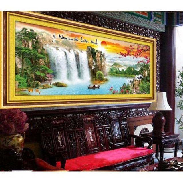 Tranh thêu phong cảnh 142x62cm