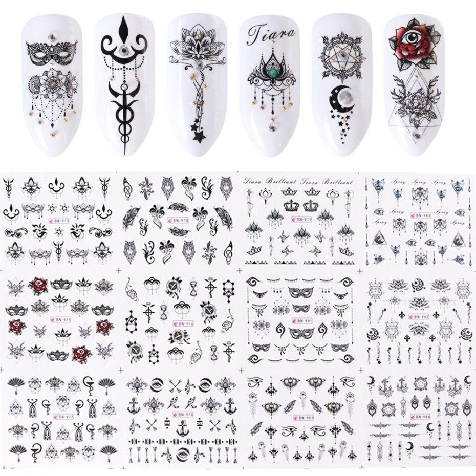 Bộ 12 miếng dán nước nhiều kiểu họa tiết tùy chọn trang trí móng nghệ thuật