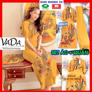 Set áo dài kèm quần vải lụa tuyết in 3D họa tiết phượng hoàng cao cấp, thời trang tết sang trọng VADA - AD39 thumbnail