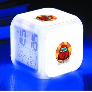 Đồng hồ báo thức để bàn in hình Among us tiện lợi LED đổi màu