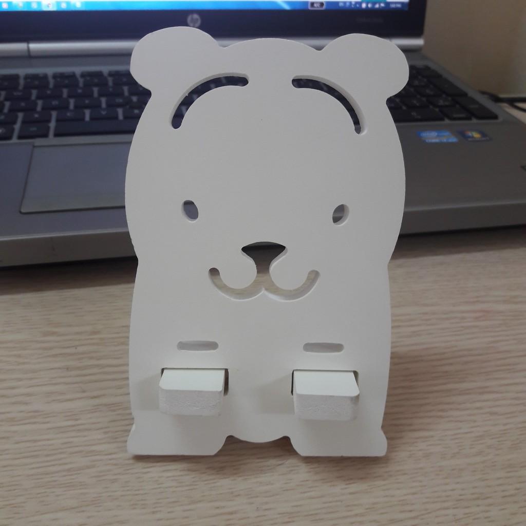 Kệ đỡ điện thoại bằng gỗ CNC cao cấp hình gấu
