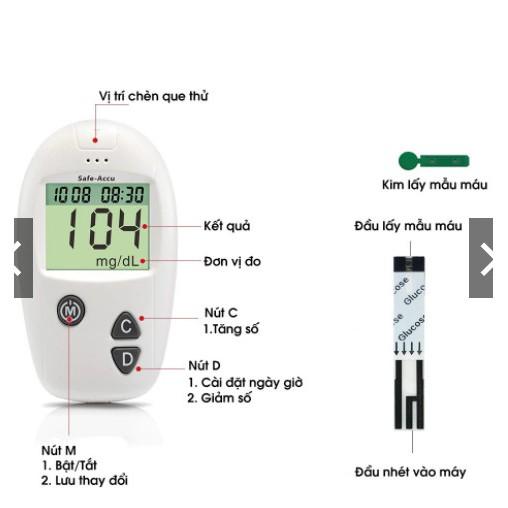 Máy đo đường huyết Safe-Accu đo tiểu đường, phát hiện tiểu đường bảo hành 1 đổi 1 trọn đời