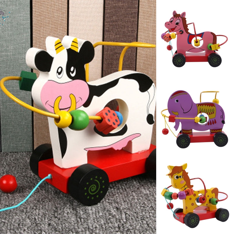 Wooden String Animal Threading Beads Kids Intelligence Education Toys