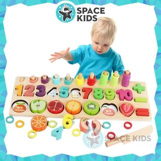 Đồ chơi gỗ thông minh 3 trong 1 cột tính, con số và cắt hoa quả cho bé vừa học vừa chơi – Space Kids