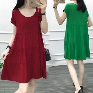 Plus Đầm Tay Ngắn Dáng Dài Rộng Phong Cách Hàn Quốc Thời Trang Mùa Hè Cho Phụ Nữ Mang Thai 200kg