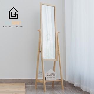 Gương soi toàn thân đứng phối kệ khung gỗ 1.6m size M Shelf Miror 40cm Tự Nhiên Đen Trắng GUSAN Lắp Ráp Kiểu Hàn