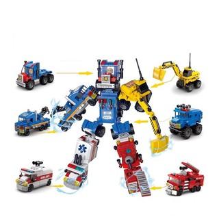Đồ chơi trẻ em lắp ráp xếp hình Robot biến hình xe Lele brother 8531