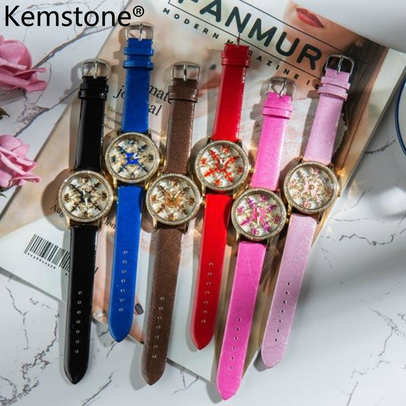 Kemstone Stainless Steel Waterproof Heart Wrist Quartz Watch Women Jewelry Gift