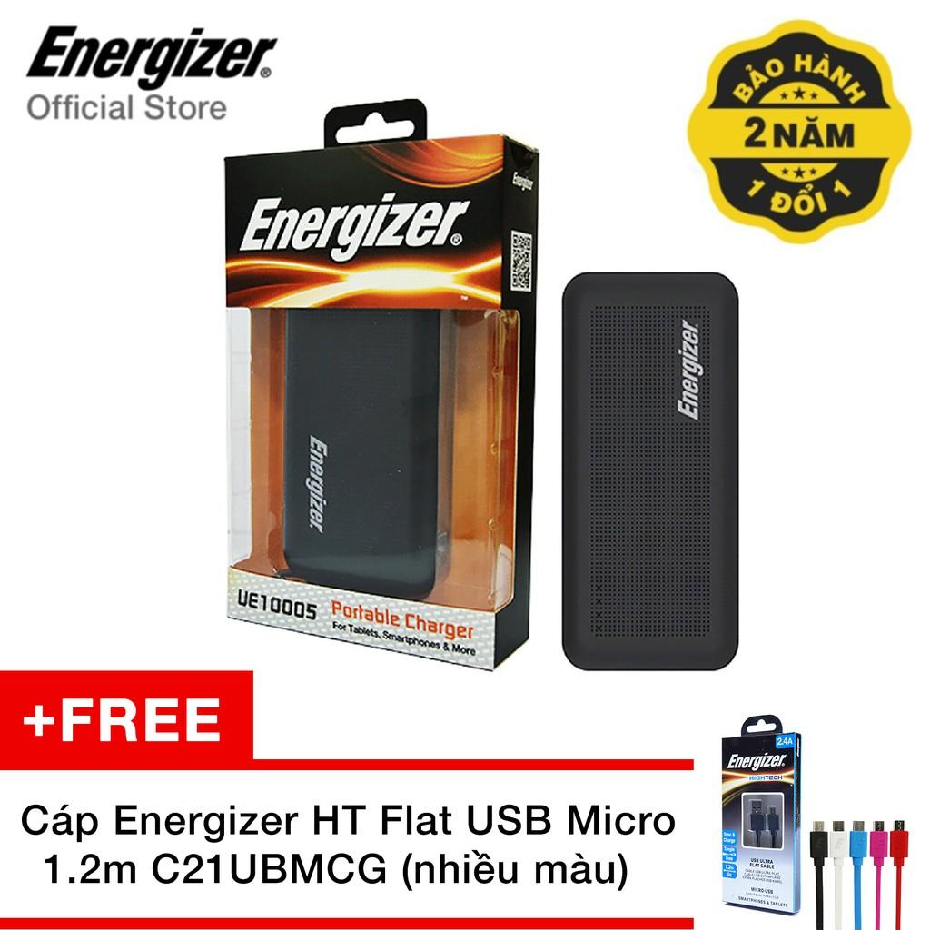 Pin sạc dự phòng Energizer UE10005 10.000mAh (Đen) - Tặng Cáp Energizer HT Flat USB Micro 1.2m C21UB