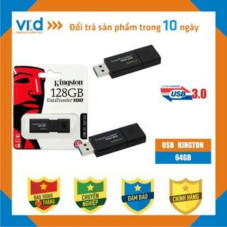 USB 3.0 Kingston DataTraveler 100 G3 128GB - Hàng Chính Hãng - Bảo hành 5 năm