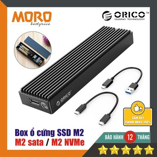 Box ổ cứng SSD M2 Orico - M2 Sata / M2 NVMe -  USB 3.1 - 10Gbps - tản nhiệt nhôm - chính hãng bảo hành 12 tháng!!