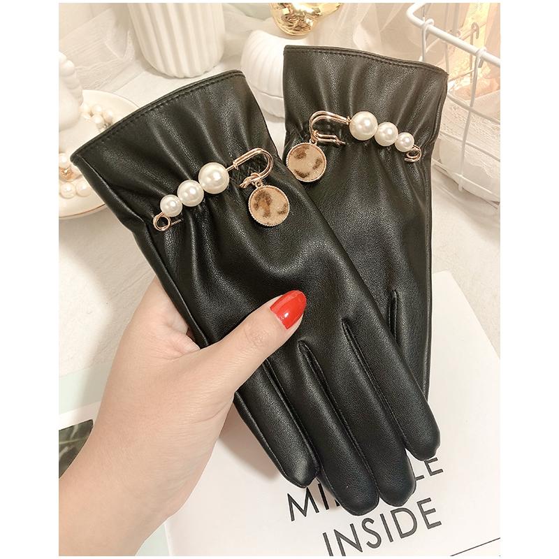 găng tay nắng Hàn Quốc đáng yêu găng tay lông Găng tay da phụ nữ mùa đông cộng với nhung lạnh cộng với mùa xuân ấm mùa t