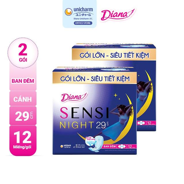 Bộ 2 gói Băng vệ sinh Diana Sensi ban đêm 29cm gói 12 miếng