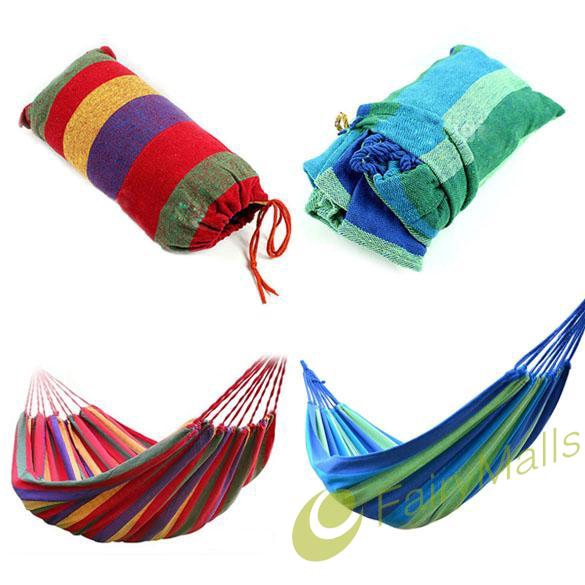 Fa❀❀Portable Outdoor Garden Hammock Hang BED Travel Camping Swing Canvas Stripe❤
