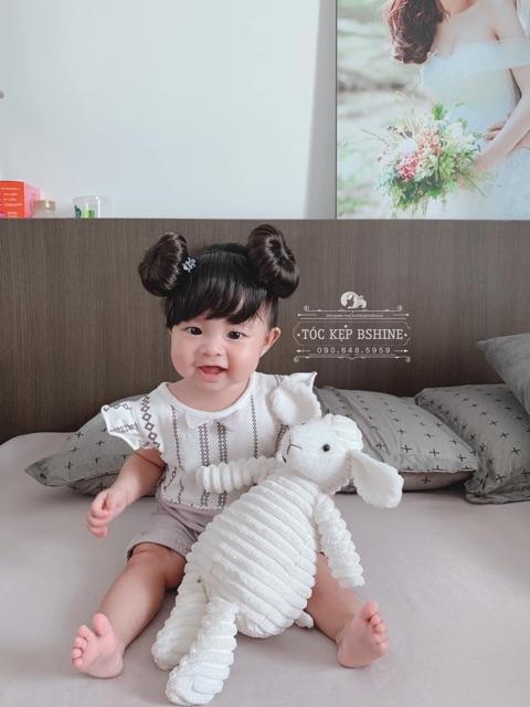 [CÓ SẴN - ẢNH THẬT TÓC SIÊU ĐẸP] Băng đô tóc mái giả kèm búi 2 bên siêu dễ thương cho bé gái