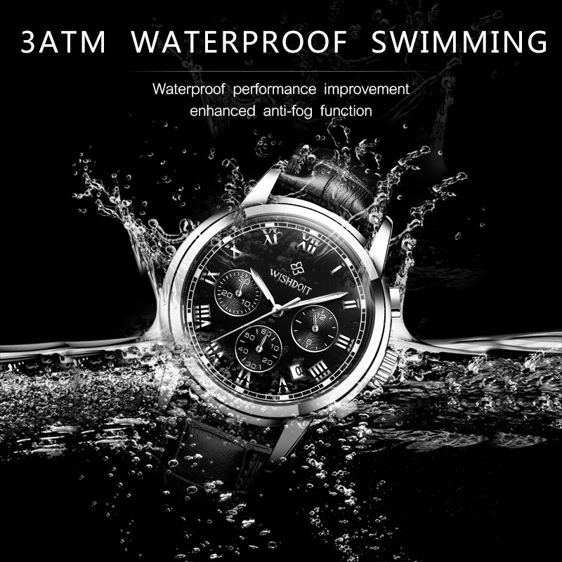 【Official product】WISHDOIT Business casual watch Simple atmosphere Multifunction Three-eye chronograph Sports waterproof swim watches Leather Popular watches Calendar function Quartz watch Student watch Couple watch.