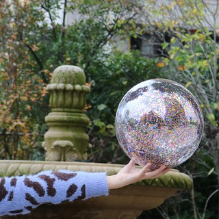 40cm / 30cm transparent clear water floating PVC beach ball with sequins