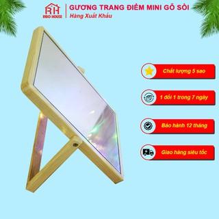 Gương soi trang điểm gỗ Sồi cao cấp để bàn RIBO HOUSE phấn Mirror Nội Thất Gia Đình Gương Soi Mini RIBO105