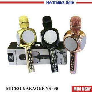 Micro karaoke Bluetooth YS 90 không dây hỗ trợ ghi âm, bắt giọng chuẩn, Mic tích hợp loa bass hay-BH: 6Thang Lỗi 1 đổi 1