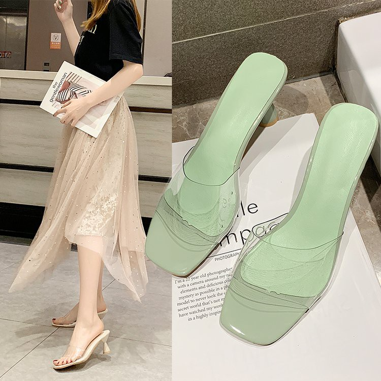 Transparent one-word high-heeled slippers women wear thick with sandals