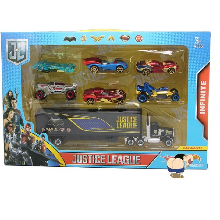 Bộ 6 ô tô siêu anh hùng và xe tải đồ chơi trẻ em xe bằng hợp kim và nhựa
