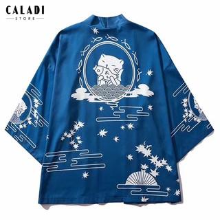 Áo khoác Kimono Haori đi biển hoạ tiết mèo xanh