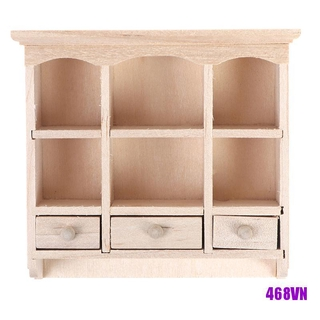 [DOU]1/12 Miniature Closet Hanging Cabinet Shelf Model Dollhouse Furniture Decor