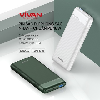 Pin Sạc Dự Phòng 10000mAh VIVAN VPB-M10 Sạc Nhanh Chuẩn PD QC3.0 18W 2 Output 2 Input - BẢO HÀNH 12 THÁNG 1 ĐỔI 1 thumbnail
