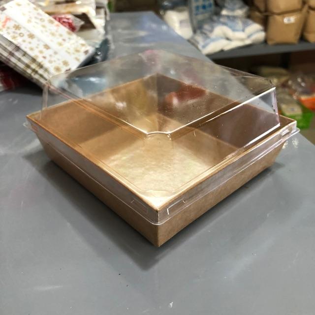 Combo 100 Hộp giấy vuông kraft màu nâu nắp pet trong kt 13x14,5cm