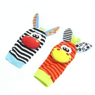 Animal Infant Baby Kids Hand Wrist Bells Foot Sock Rattles Soft Toys New
