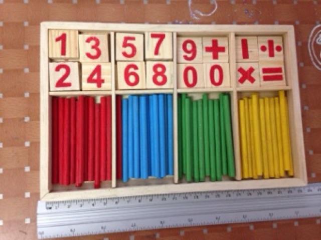 Bộ sản phẩm que học toán thông minh bằng gỗ - Mathematical Intelligence stick (bảng tính)