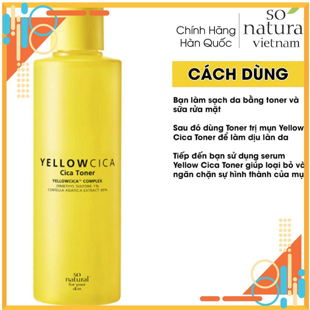 Yellow Cica Toner Làm Dịu Mụn Dành Cho mặt So Natural Nhập Khẩu  Hàn Quốc Chuẩn 100% giá rẻ