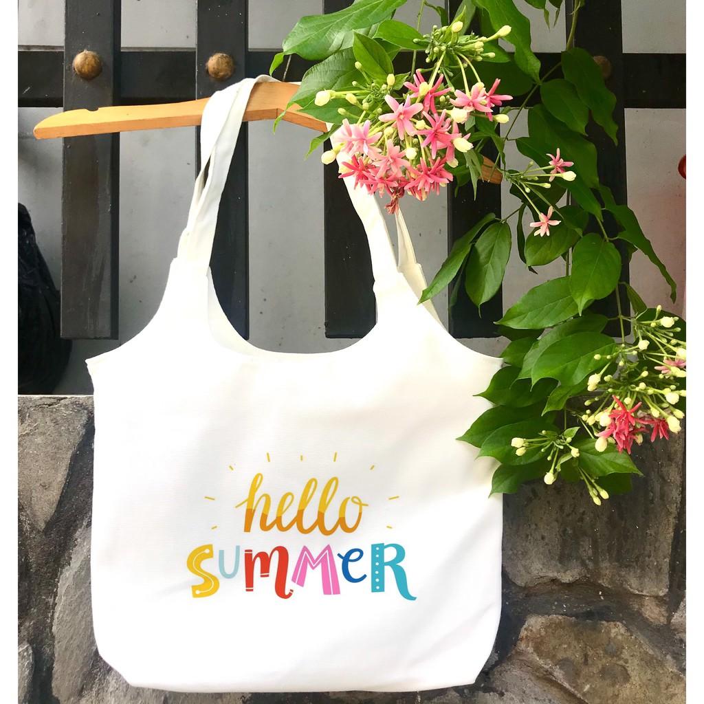 TÚI tote bầu vải canvas đeo vai hello summer_Khoá kéo