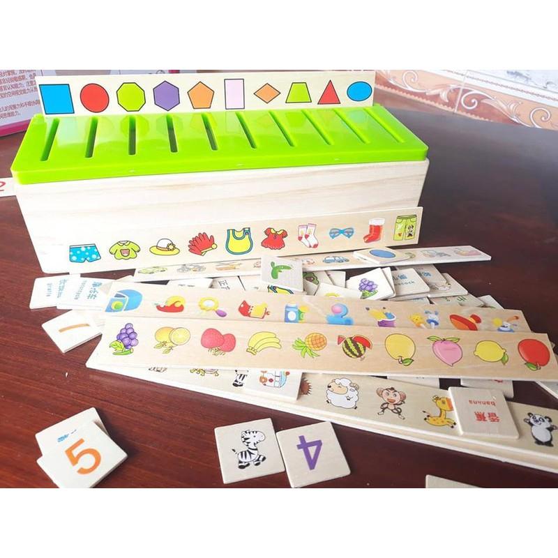 Đồ chơi gỗ - Giáo cụ Montessori - Hộp phân loại nhiều c