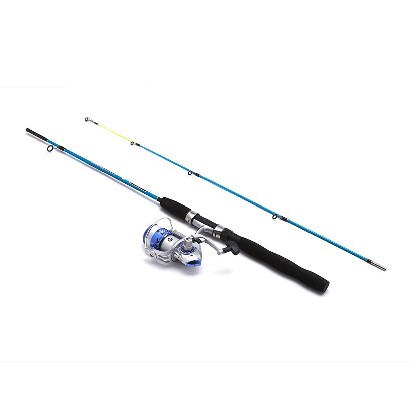 Bộ cần câu cá 2 khúc mini WPower 1m5 Blue ( máy 3000 )