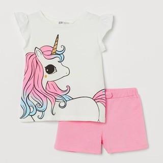 Bộ cộc tay bé gái – Bộ cộc tay sát nách Pony Hm chất cotton cho bé gái size 2-10 tuổi 🍄HOT🍄