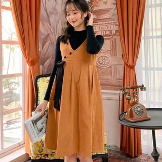 MEDYLA - Yếm bầu công sở thu đông nhung lì , Váy bầu mùa đông set yếm kèm áo len co dãn - VY008 thumbnail
