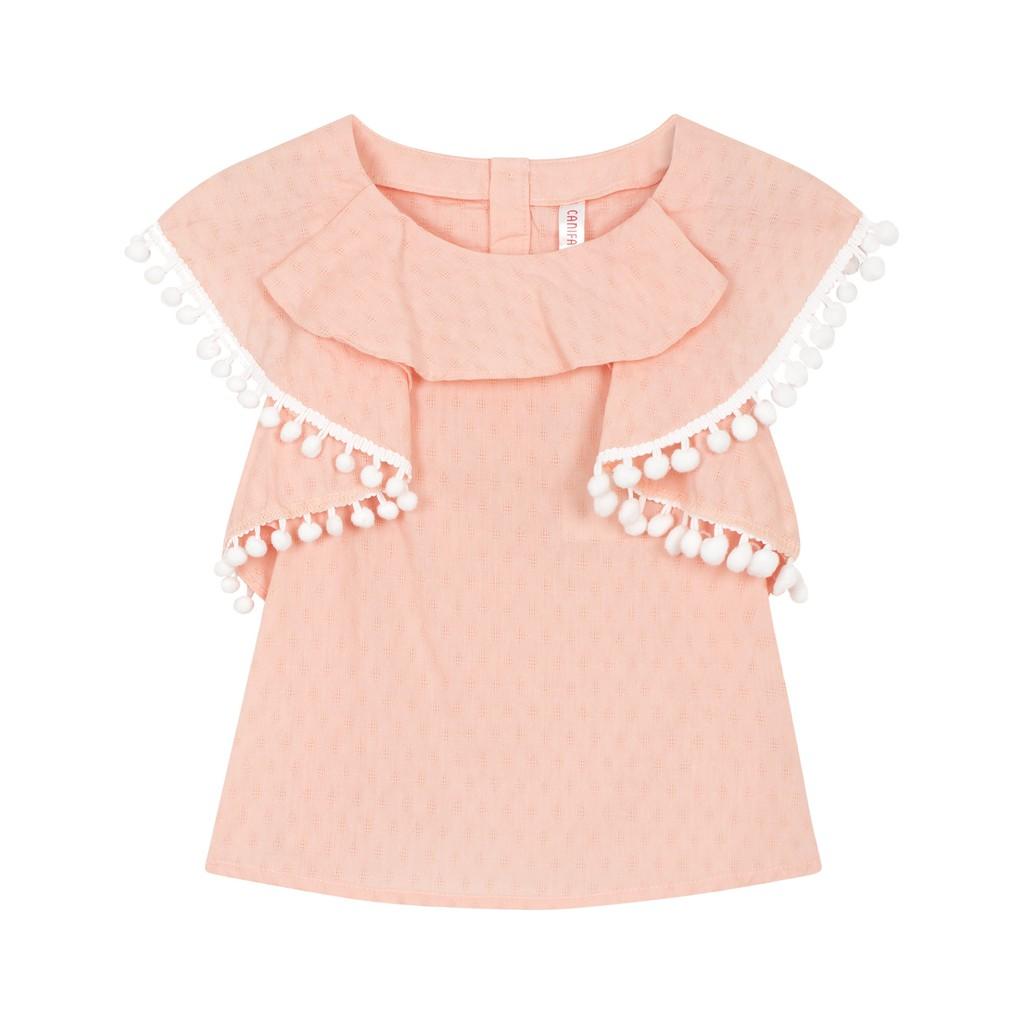 Áo kiểu bé gái tay bèo xuống thân 100% cotton 1TO18S008 CANIFA