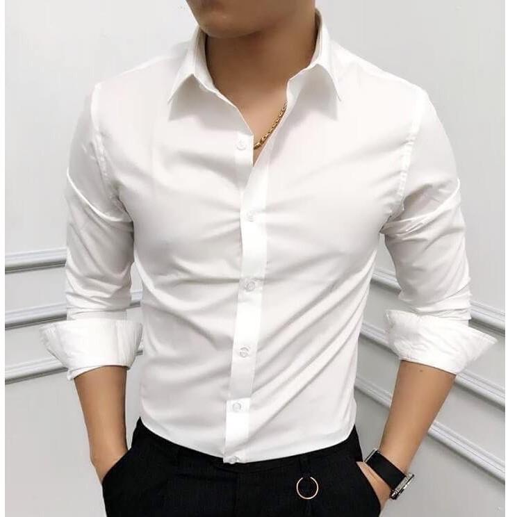 Áo sơ mi nam dài tay Hàn Quốc dáng ôm sơ mi nam trắng cổ bẻ vải lụa thái chống nhăn chống xù