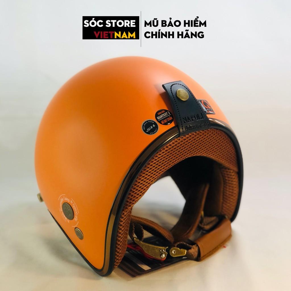 Mũ bảo hiểm 3 phần 4 chính hãng Napoli màu cam, nón bảo hiểm 3 phần 4 nam nữ Sóc Store freesize