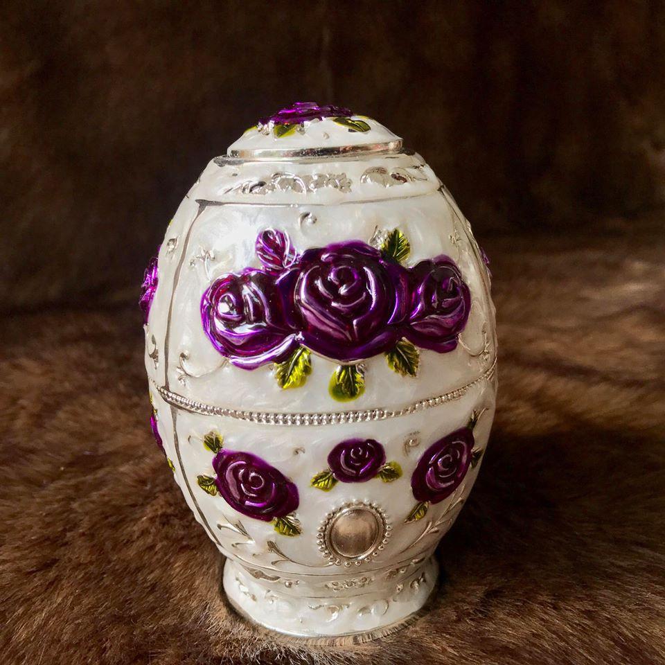 Trứng đựng tăm bông tím hợp kim mạ bạc Hoàng Gia Thái Lan Loại Thấp