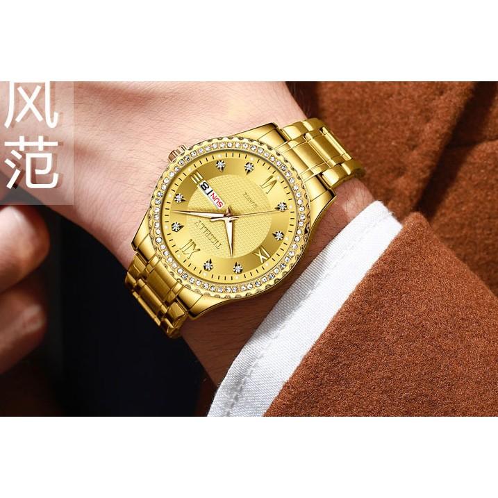 Đồng hồ nam đính hạt dạ quang kim và 12 điểm giờ Tisselly T808