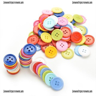 [Crown]100 Pcs Plastic Round Buttons Sewing DIY Craft Decals for Kids Crafts 5 Sizes [VN]