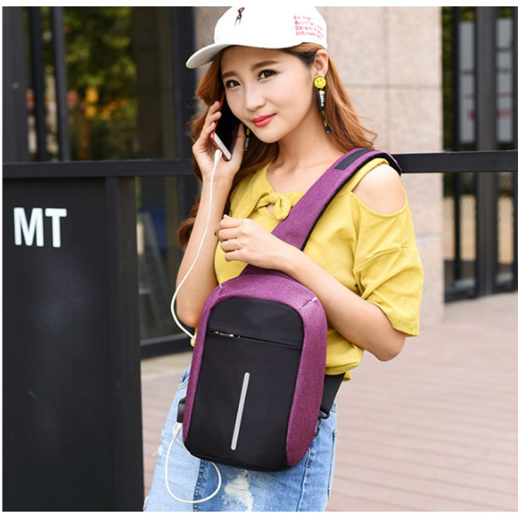 Túi Nữ Đeo Chéo Nam Chống Trộm + Sạc USB Tiện Lợi 2018 - T010
