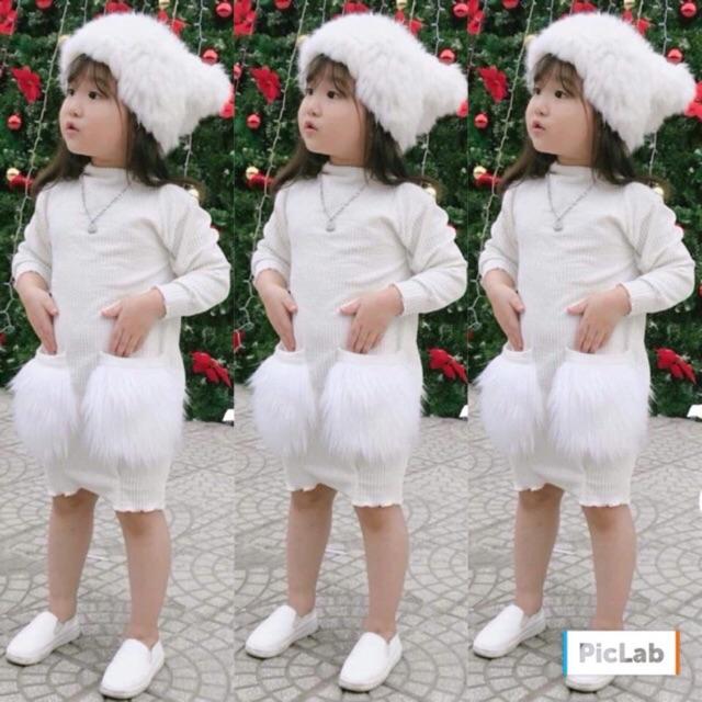 Váy len tăm kèm túi lông cho bé gái