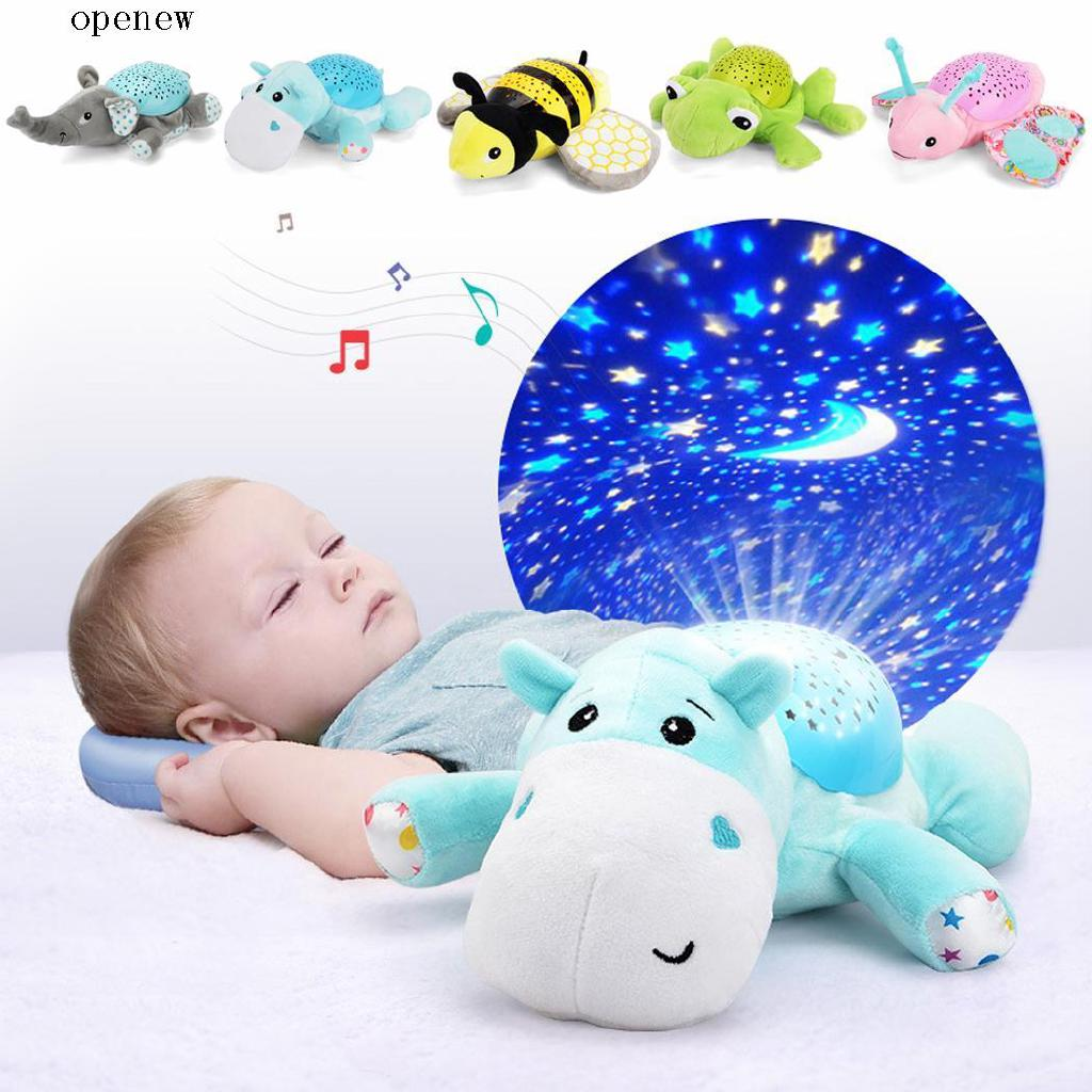 op Baby Cartoon Animal Soft Comfort Plush Toys Music Hypnotic Projection