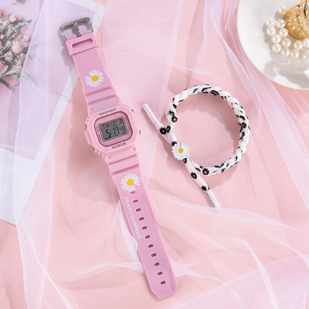 Đồng hồ nam nữ Aosun điện tử thời trang đeo tay hoa cúc cực đẹp DH106 tiện dụng